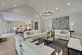 Small Picture Contemporary Living Room with Carpet Cathedral ceiling in