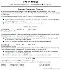 Special Education Teacher Resume Samples Good Teacher Resume
