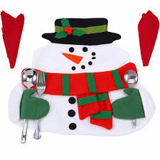 household dining table set christmas snowman knife: new christmas table mat santa claus placemats snowman mat place mat pads with napkin dinner table