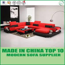 modern living room genuine leather u shape sofa