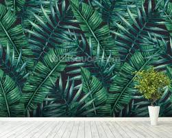 jungle wallpaper for walls. Fine Jungle Dark Tropical Leaves Jungle Wallpaper Mural Wallpaper Room Setting To For Walls