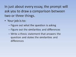 thesis writing essay basics in just about every essay the prompt  in just about every essay the prompt will ask you to draw a comparison between
