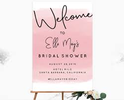 pink welcome bridal shower welcome signs