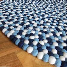 white navy blue color kids felt ball rug