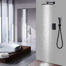 Großhandel Messing 10 Zoll Overhead Badezimmer Dusche Set Schwarz