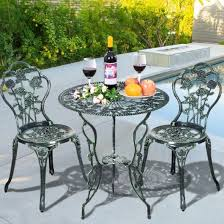 aluminum tables and chairs cast aluminum bistro rose furniture set green