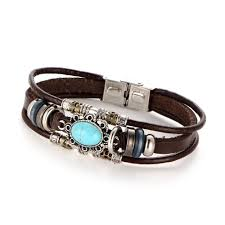 2 style vintage flower bracelets bangle boho multilayer leather bracelet handmade female punk jewelry for women man 10pcs