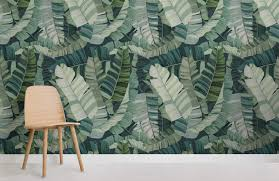 3d mixed tropical camo leaf design room wall
