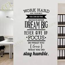 wall decorations for office. Free Shipping Motivation Wall Decals Office Room Decor Never Give Intended For Most Recently Released Inspirational Decorations