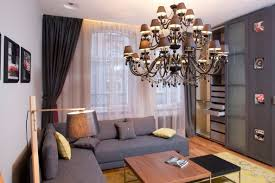 lighting small space. Apartment, Decorating Studio Apartment Wooden Bench Modern Drum Lighting Yellow Leather Sofa Cute Purple Cushions Small Space O