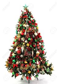 Red, Green and Gold decorations in a series of colour themed Christmas trees  photographed over