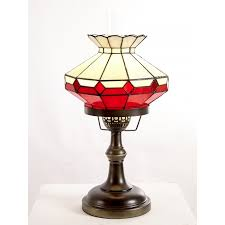 hbr1 12 red and beige tiffany oil lamp with glass funnel in the center