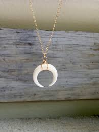 white double horn pendant necklace with sterling silver chain hand carved blackbuffalo horn bohemian long necklace crescent moon necklace
