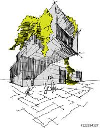 modern architecture sketch.  Sketch Hand Drawn Architectural Sketch Of A Modern Building With Lot Trees And  Green On The With Modern Architecture Sketch I