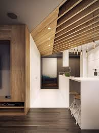 A Patchwork Of Wood Shutters Cover The Wall And Ceiling In This - House interior ceiling design