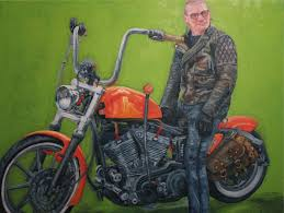 albie curly rides a custom harley davidson sportster he started riding on a vespa ten years ago and then fell in love with riding motorcycles