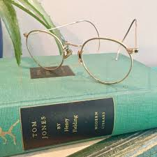 vintage gold wire rimmed eyeglasses with leather case vintage display eyeglasses vintage office decor