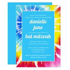 Pink Rainbow Tie Dye Bat Mitzvah Invitation