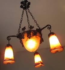 art nouveau pate de verre muller ceiling light