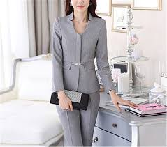 Womens Light Gray Pant Suit Frozac Autumn Work Wear Women Pant Suit Slim Fashion Elegant