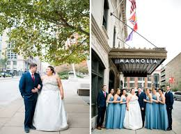 their wedding ceremony and reception was held on the patio on the lemp mansion with tents protecting the guests from the rain it was a lovely day