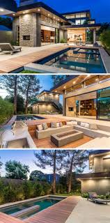 In this backyard, there's a swimming pool, outdoor dining area, kitchen, and