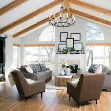 Living Room with Exposed Beam Ceiling