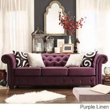 Knightsbridge Tufted Scroll Arm Chesterfield Sofa by iNSPIRE Q Artisan  (Option: Purple Linen Sofa