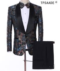 Us 104 99 25 Off Tpsaade Pattern Men Suits Costume Made Plus Size Shawl Collar Tuxedos Jacket Pant Vest Bowtie Fashion Blazer Man Suits Costume In