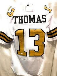White Witnessed Sports Certified Jersey New Saints Collectibles Michael Jsa Autograph At Thomas Rush Custom Orleans Amazon's Signed Color Store