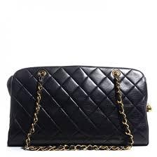 CHANEL Vintage Lambskin Quilted Shoulder Bag Black 93967 &  Adamdwight.com