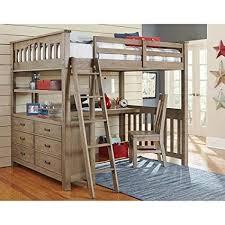 Amazon.com: NE Kids Highlands Full Loft Bed with Desk in Driftwood ...