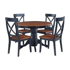 home styles black cote oak 5 piece dining set with round dining table