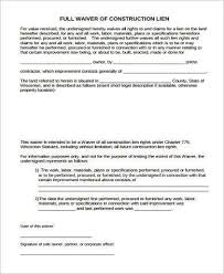 Free Subcontractor Lien Waiver Form Sample Lien Waiver Forms 8 Free Documents In Word Pdf