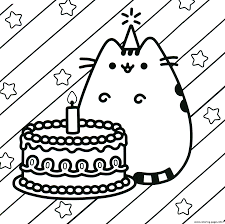 Pusheen Cake Happy Birthday Coloring Pages Printable