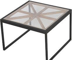 union jack black top glass coffee table set of 3