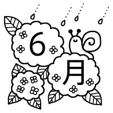アジサイとかたつむり白黒6月タイトル無料イラスト夏梅雨の季節