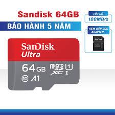 Thẻ nhớ Micro SD Sandisk Ultra A1 100MB/s 64GB BH 5 năm + Adapter