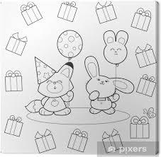 Canvas Kleurplaten Verjaardagsfeestje Met Vos En Konijntje Ballonnen