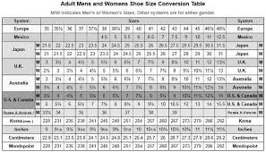 Racing Shoe Size Chart International Shoe Size Conversion Length And Width Charts