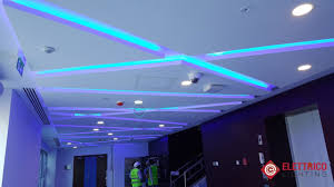 Blue Led Light Fixture Decorative Light Emitting Diode Strips Of Blue Color On The