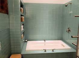 sage green glass subway tile modern bathroom shower