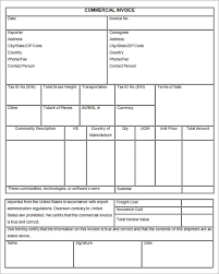 Blank Commercial Invoice And Fillable Commercial Invoice La