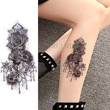 водонепроницаемый временные татуировки стикеры роза цветок хризантемы