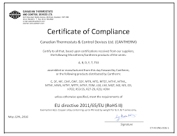 Certificates Cantherm Cantherm Canadian Thermostats Control