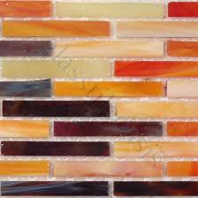 ... Orange Uniform Brick Glass Glossy Tile ...
