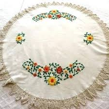 vintage round tablecloth embroidered small in ivory with c tablecloths uk