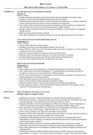 Specialist Systems Engineer Resume Samples Velvet Jobs