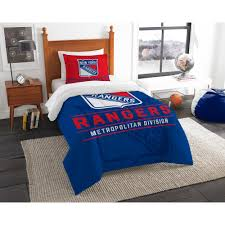nhl ny rangers draft 2 piece multi color polyester twin comforter set