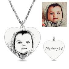heart laser engraved personalized photo necklace sterling silver jeulia jewelry